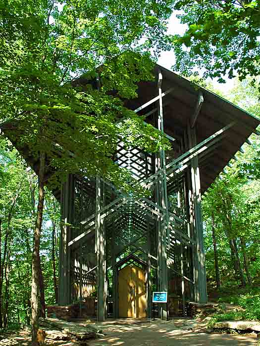 Thorncrown Chapel. At one with its surroundings. Photo by Clinton Steeds