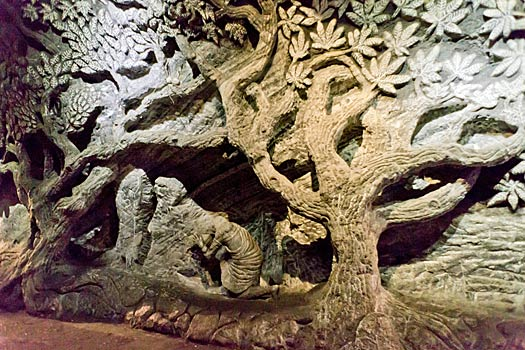 Wall carving at the Salt Cathedral. Photo by Ratha Grimes