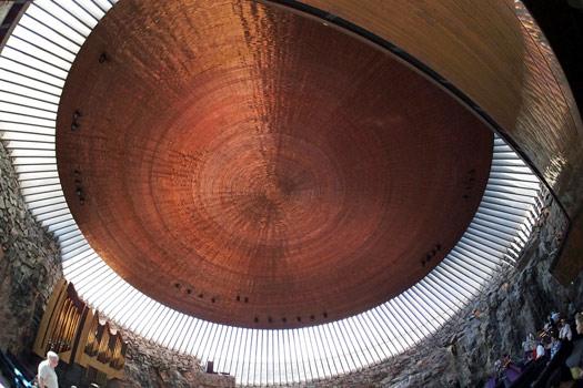Giant copper dome at Temppeliaukio. Photo by Jaakko Hakulinen