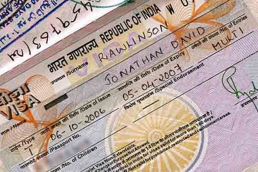 A typical Indian visa