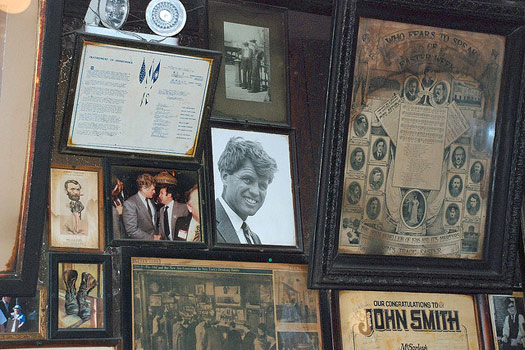 Some of the memorabilia at McSorley's in New York