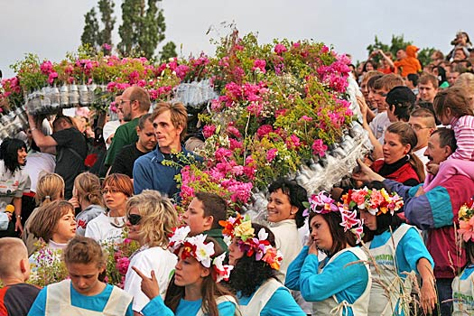 Floating wreaths down the river for Ivan Kupala Day. Photo by Madzia Bryll