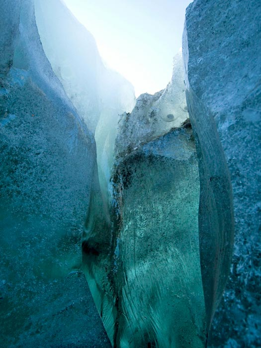 Blue, green ice at Svínafellsjökull, Iceland. Photo by Ben Husmann