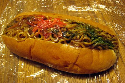 Yakisoba noodle sandwich