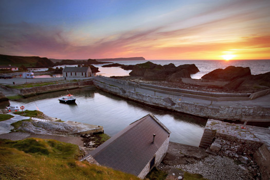 Ballintoy Harbour sunset. Photo by Causeway Coast and Glens Tourism