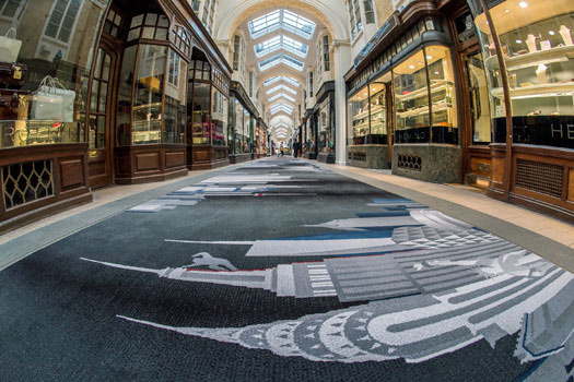 The world on a rug at  Burlington Arcade. Photo by Burlington Arcade.