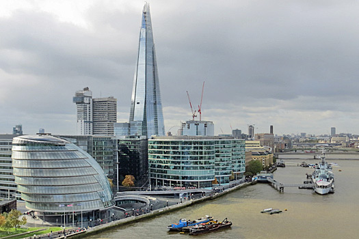 City Hall, The Shard and HMS Belfast from Tower Bridge. Photo by Charles D P Miller
