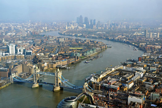 View from the Shard showing the Thames curving between Wapping and Rotherhythe. Photo by Duncan Harris