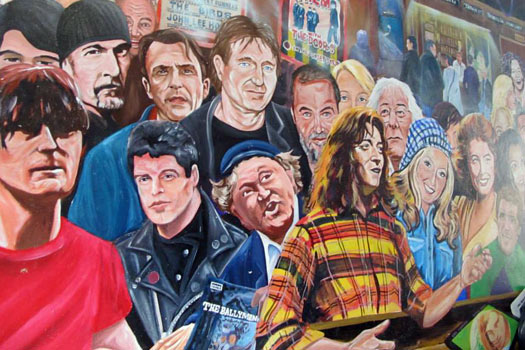 Ireland's famous faces. Mural by the Duke of York, Belfast. Photo by Kara Segedin