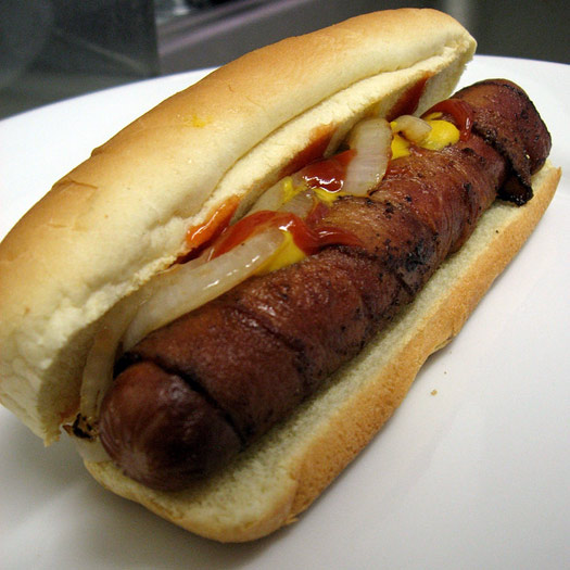 A bacon-wrapped hot dog