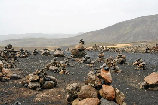 Rock piles symbolising the location of Huldufólk. Photo by Jeroen