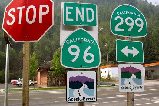 Start of the highway in Willow Creek, California. David Jones