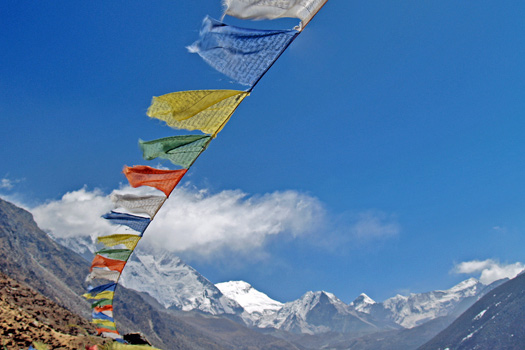 Prayer Flags in the Himalayas. Photo by Steve Hicks