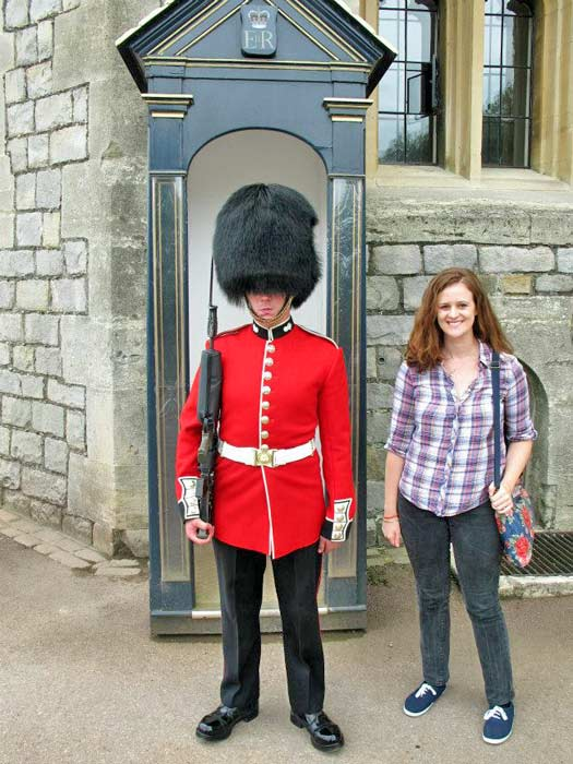 Posing with the guards at Windsor Castle. Photo by Kara Segedin