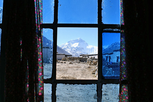 Mount Everest from a monastery window. Photo by Rupert Taylor-Price