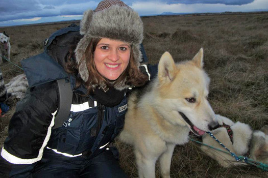 Me and one of my new furry friends, Dogsledding Iceland. Photo by Kara Segedin