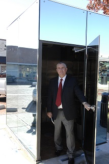 Glass Bathrooms at Downtown Square, Sulphur Springs, Texas. Photo by Sulphur Springs Texas