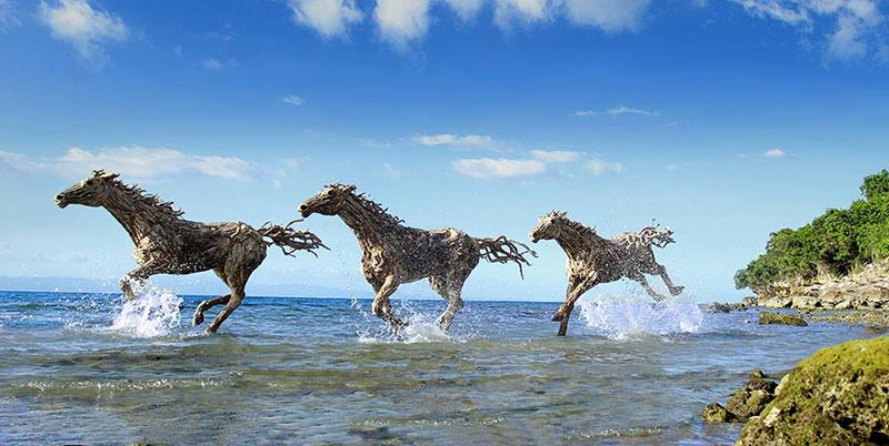 5 pictures of giant horses made of driftwood - on a beach