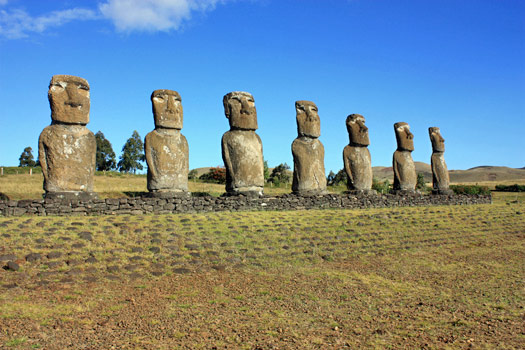 Moai at Ahu Akivi, Easter Island, Chile. Photo by Arian Zwegers