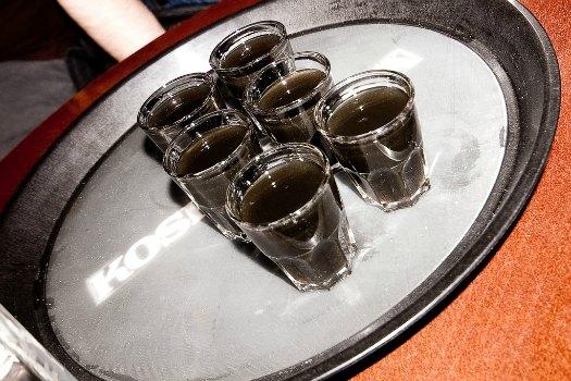 Salmiakki-chilli shots. Not for the faint-hearted. Photoby Anssi Koskinen