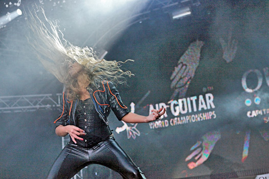 "Vladlena ""Ivana Rock"" Kaminskaya of Russia. Photo by Maiju Torvinen/Air Guitar World Championships"