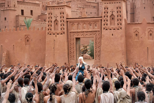 Daenerys lifted by the freed slaves of Yunkai. Yunkai was inspired by Aït Benhaddou. Photo by BSkyB