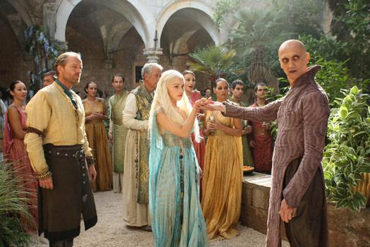 Daenerys and Ser Jorah meet Pyat Pree in Qarth aka Lokrum Island. Photo by BSkyB