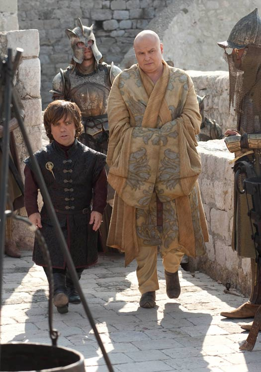 Tyrion Lannister and Varys walk the city walls in Dubrovnik. Photo by BSkyB