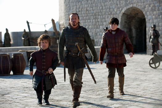 Tyrion Lannister, Bronn and Podrick walk the city walls in Dubrovnik. Photo by BSkyB