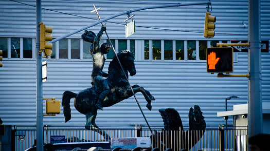 Saint George and the Traffic Light. The statue at the United Nations in New York.