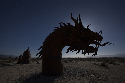 At the Desert State Park in California lie dragons and dinosaurs and other long-extinct animals, sculpted by Ricardo A. Breceda.