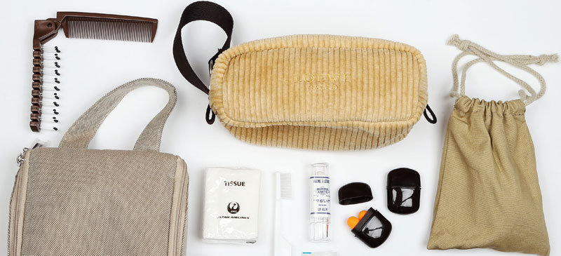 What do you get in a Japan Airlines First Class amenity kit? 1