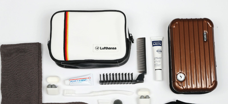 What do you get in the Lufthansa First Class amenity kit? 2