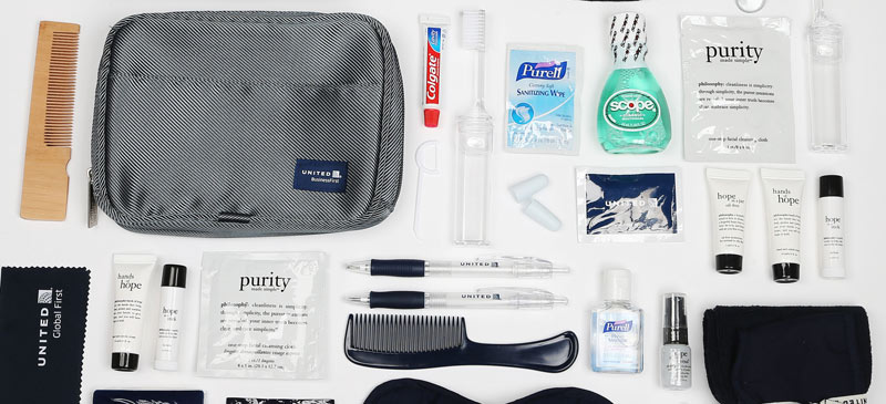 What do you get in the United Airlines amenity kits? 2