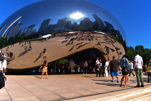 Cloud Gate by Anish Kapoor at Millennium Park in the Loop community area of Chicago, Illinois. Nickname: The Bean. Photo by Life of JennRene