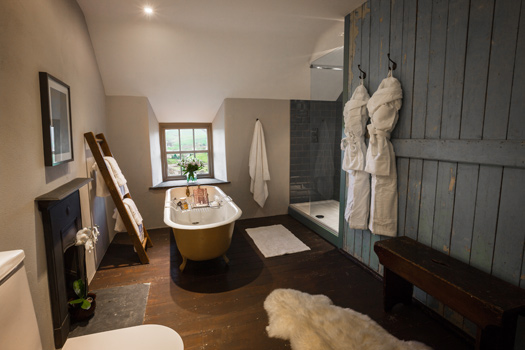 The bathroom at Cappele Cottage, Snowdonia, Wales.