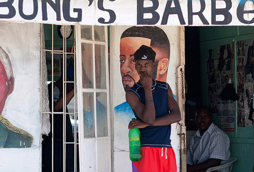 Township barbers can be found all over South Africa, where the cutting of hair and stubble can bring communities together. Photo: David Rosen