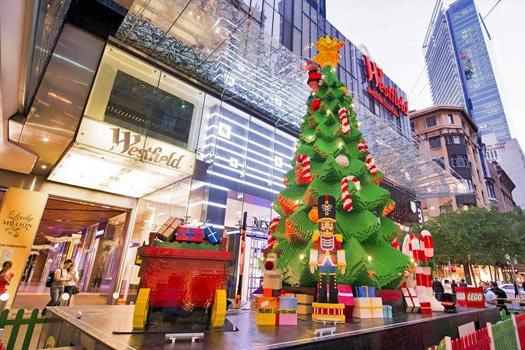 Lego Christmas tree at Pitt Street Mall. Photo by Pitt Street Mall