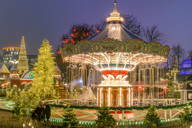 Copenhagen's Tivoli gardens with rides and Christmas stalls