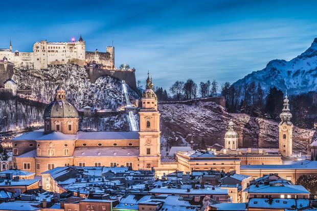 A snowy scene of Salzburg