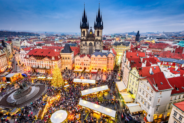 Christmas Market in Stare Mesto old square in Prague