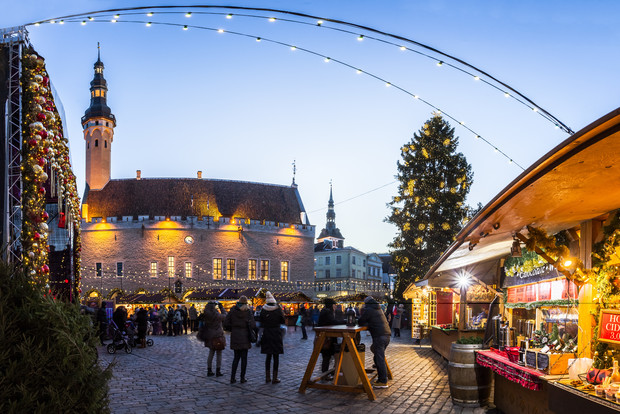 Traditional Christmas market in Tallinn old town.