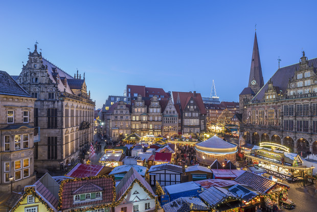 Bremen's city square packed full of Christmas stalls