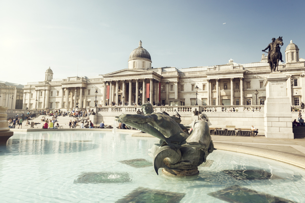 fountain on the Trafalgar Square, London, UK