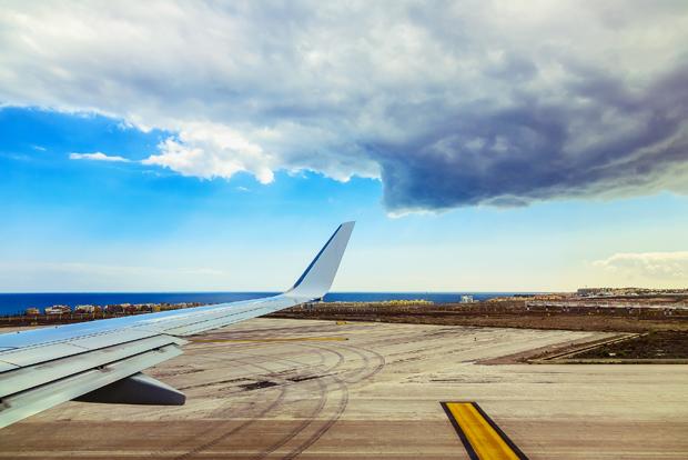 Plane Wing at Tenerife Island Background