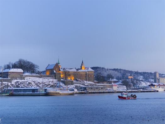Akershus Fortress in Oslo, Norway Frozen