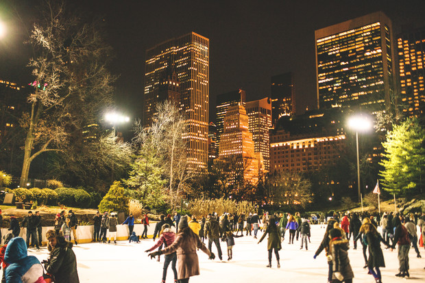 Central Park ice rink people having fun