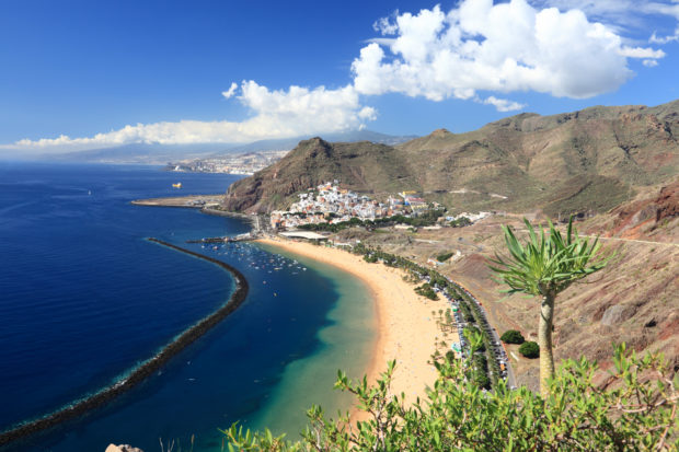 Tenerife. The beach of Teresitas (playa de las Teresitas) and San Andres, Santa Cruz de Tenerife, The Canary Islands. More Tenerife images: