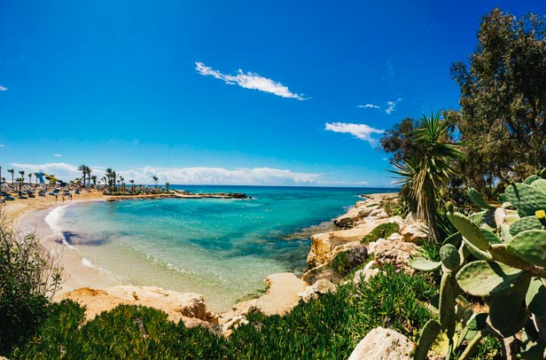 Ayia Napa town - Cyprus island. Beautiful sandy beach with crystal blue water.